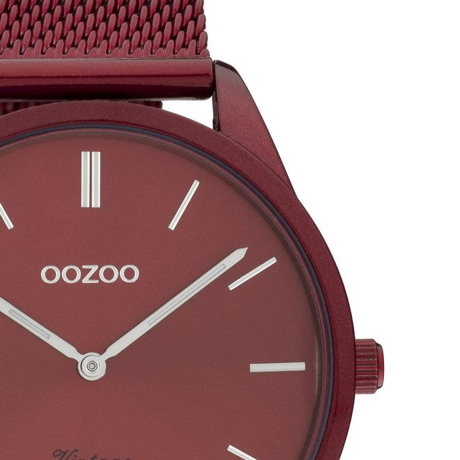 OOZOO Vintage - C20006 - Unisexuhr - Edelstahl-Mesh-Armband – Bordeauxrot