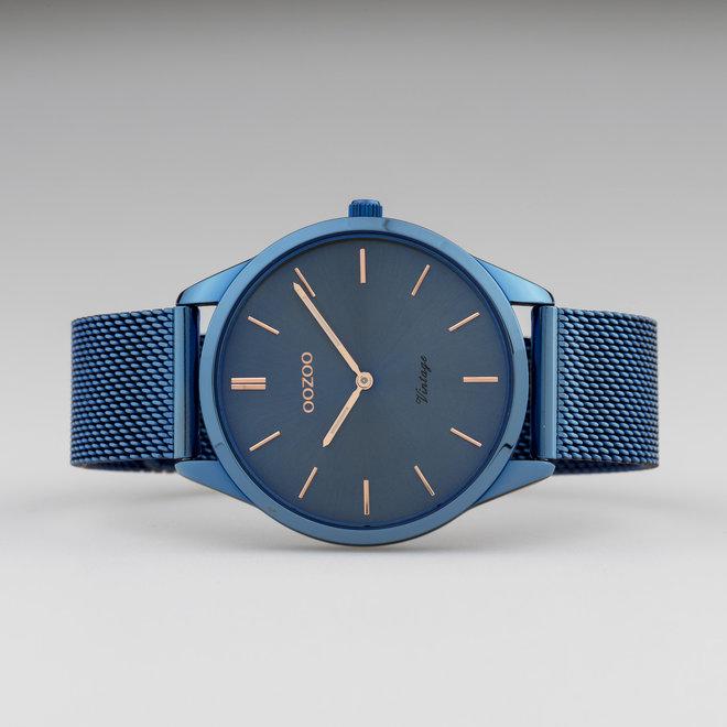 OOZOO Vintage - C20007 - Unisexuhr - Edelstahl-Mesh-Armband – Blau