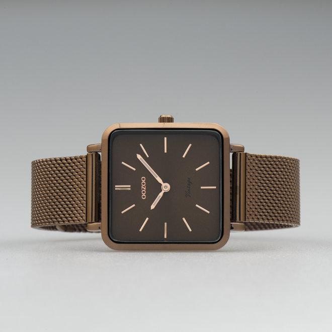 OOZOO Vintage - C20014 - Damen - Edelstahl-Mesh-Armband – Braun