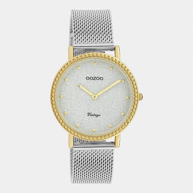 OOZOO Vintage - C20053 - Damen - Edelstahl-Mesh-Armband – Silber/Gold