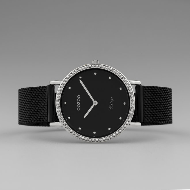 OOZOO Vintage - C20057 - Damen - Edelstahl-Mesh-Armband – Schwarz/Silber