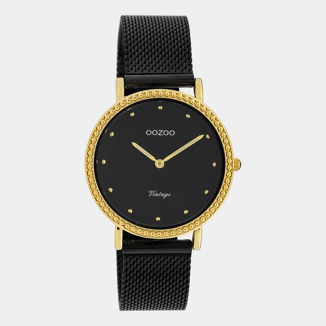 OOZOO Vintage - C20058 - Damen - Edelstahl-Mesh-Armband – Schwarz/Gold