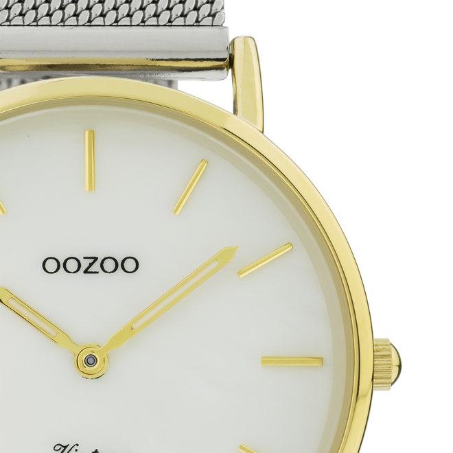 OOZOO Timepieces - C20119 -  Damen - Leder-Armband - Weiß/Gold