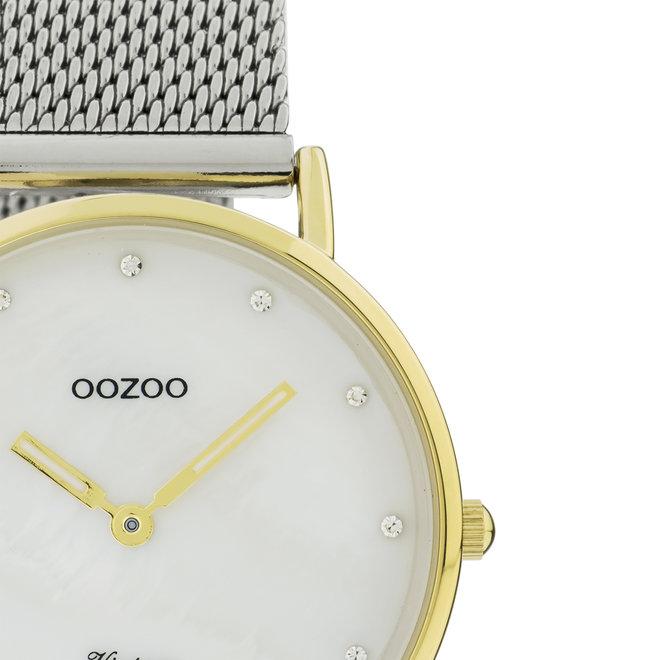 OOZOO Vintage - C20120 - Damen - Edelstahl-Mesh-Armband – Silber/Gold