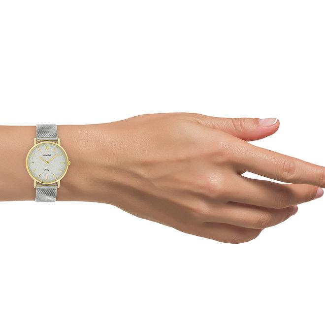 OOZOO Vintage - C20122 - Damen - Edelstahl-Mesh-Armband – Silber/Gold