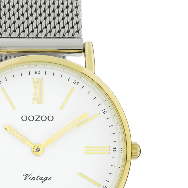 OOZOO Vintage - C20123 - Unisex - Edelstahl-Mesh-Armband – Silber/Gold