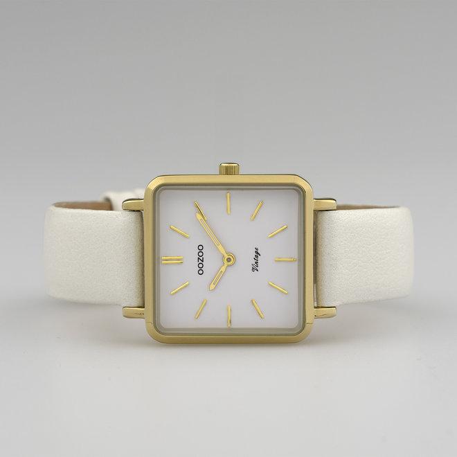 OOZOO Vintage - Damen - Leder-Armband - Weiß/Gold