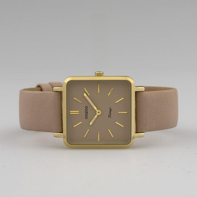OOZOO Vintage - Damen - Leder-Armband - Pinkgrau/Gold