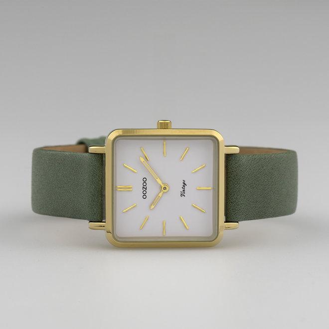 OOZOO Vintage - Damen - Leder-Armband - Grün/Gold