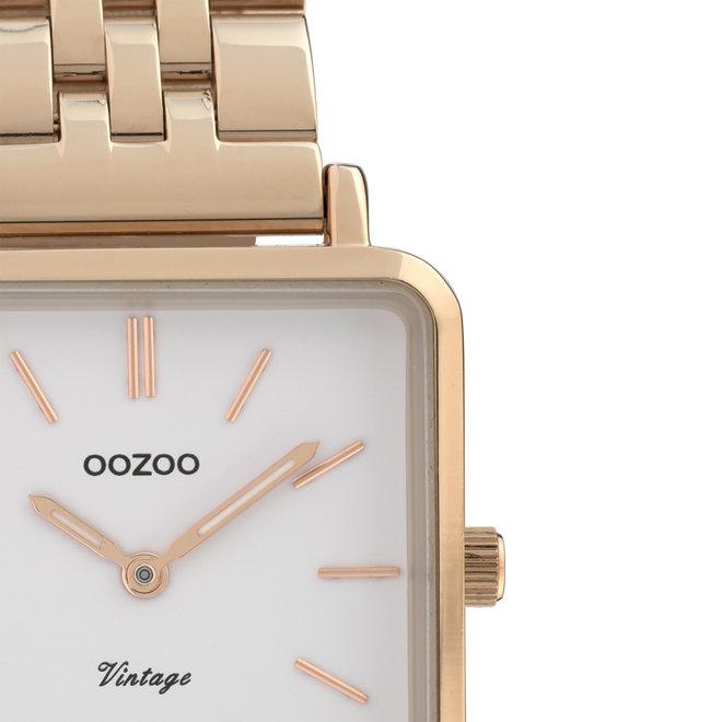 OOZOO Vintage - C9958 - Damen - Edelstahl-Glieder-Armband - Roségold/Weiß