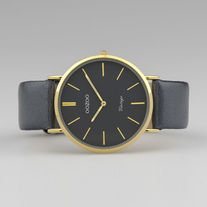 Vintage series - unisex - leather strap night blue  with gold  watch case
