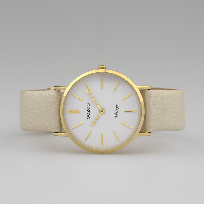 Vintage series - ladies - leather strap gold  with gold  watch case