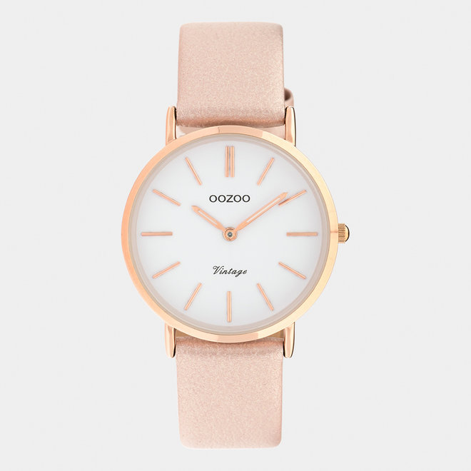 Vintage series - ladies - leather strap rose gold / rose gold