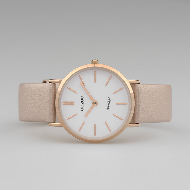 Vintage series - ladies - leather strap rose gold with rose gold  watch case