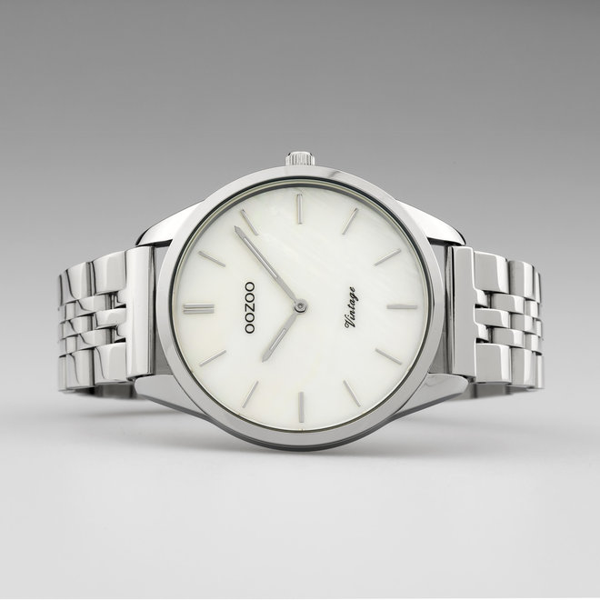 Vintage series - unisex - stainless steel bracelet silver  with silver watch case