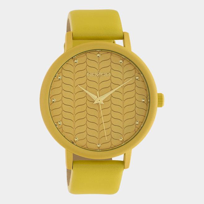 OOZOO Timepieces - Damen - Leder-Armband - Senfgelb/Senfgelb