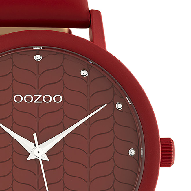 OOZOO Timepieces - Damen - Leder-Armband - Rot/Rot