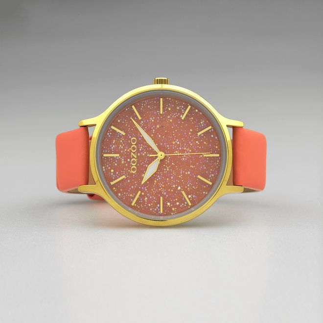 OOZOO Timepieces - Damen - Leder-Armband - Aprikot/Gold