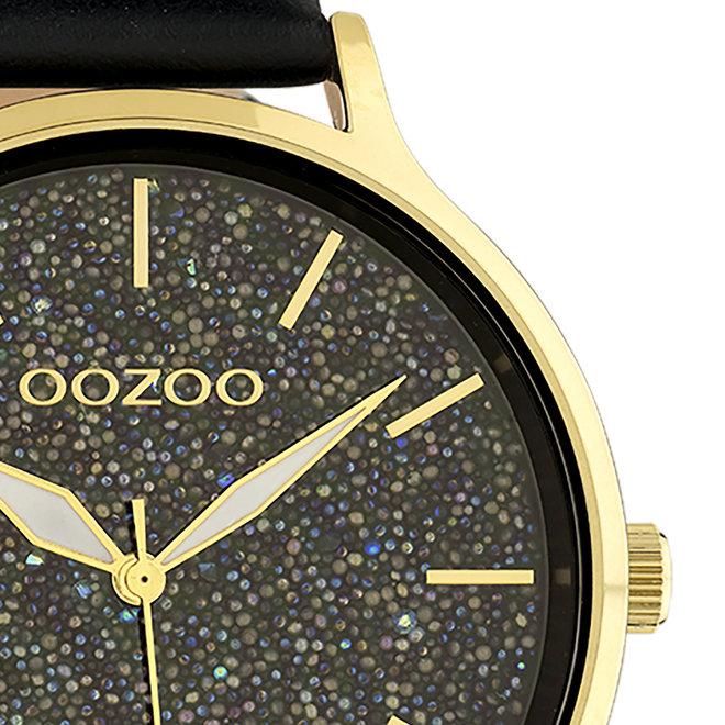 OOZOO Timepieces - Damen - Leder-Armband - Schwarz/Gold
