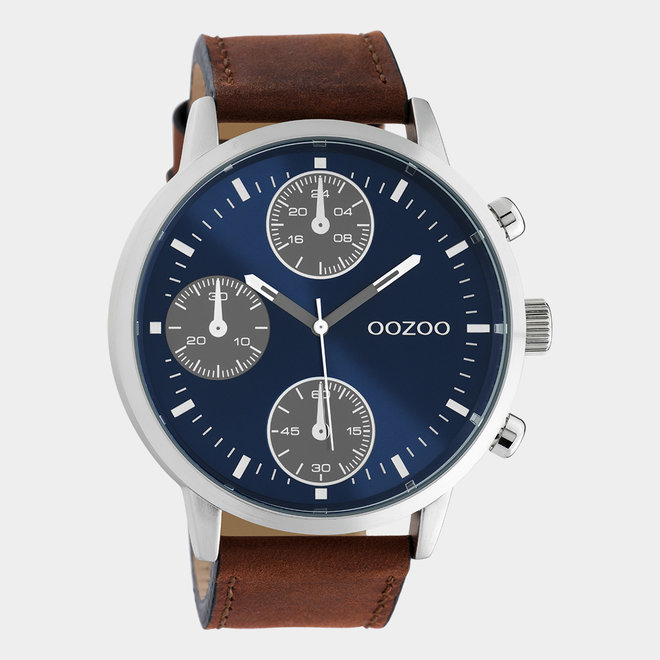 OOZOO Timepieces - Herren - Leder-Armband - Braun/Silber
