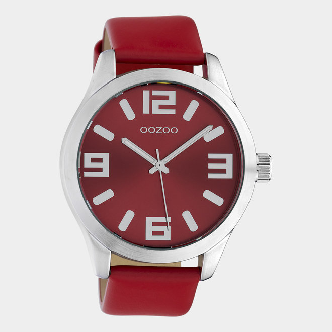 OOZOO Timepieces - Unisex - Leder-Armband - Rot/Silber