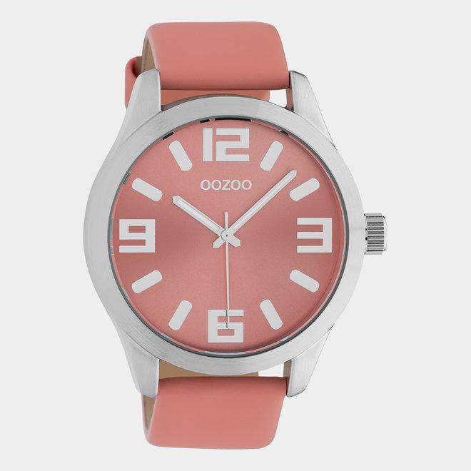 OOZOO Timepieces - Unisex - Leder-Armband - Orange/Silber