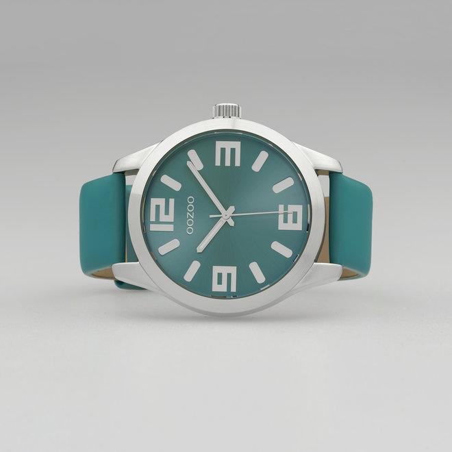 OOZOO Timepieces - Unisex - Leder-Armband - Türkis/Silber