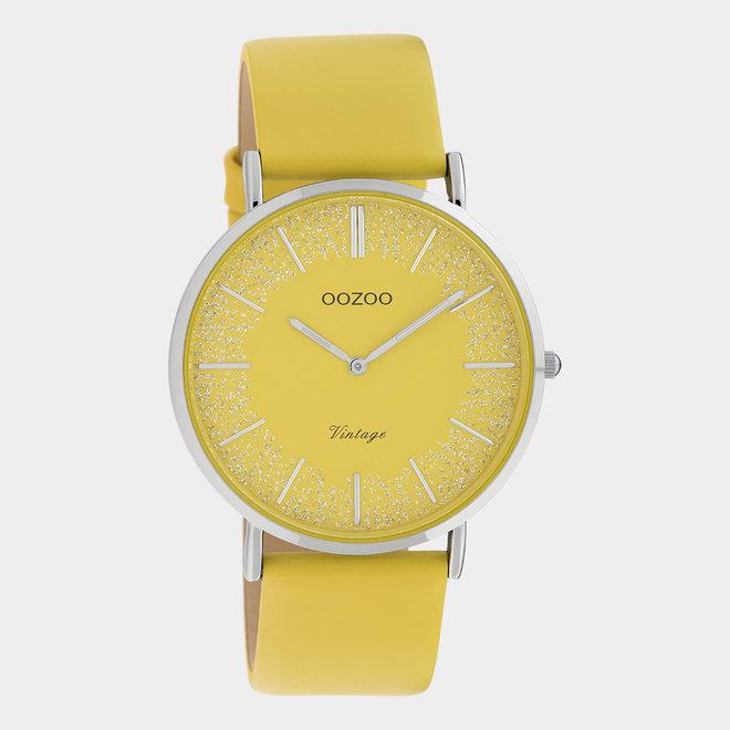 OOZOO Vintage - C20128 - Damen - Leder-Armband- Gelb/Silber