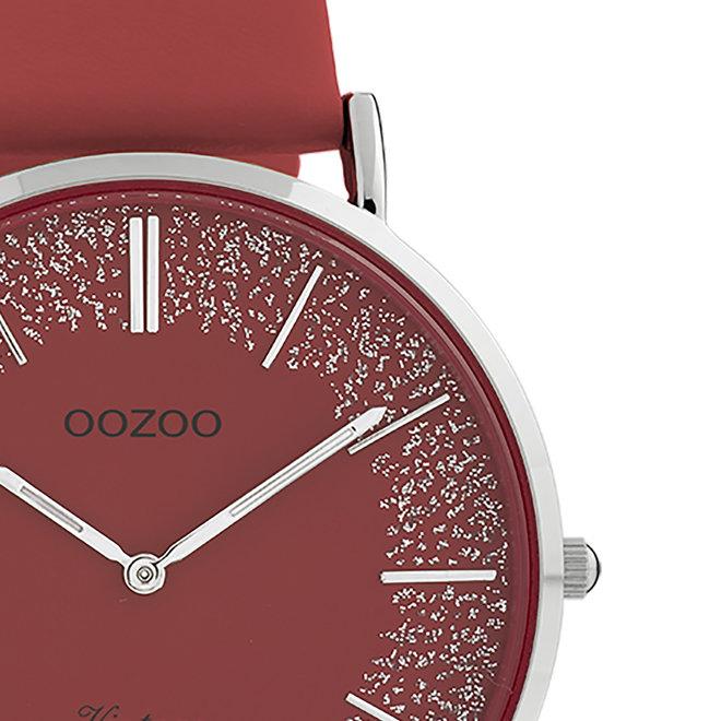 OOZOO Vintage - C20129 - Damen - Leder-Armband- Rot/Silber