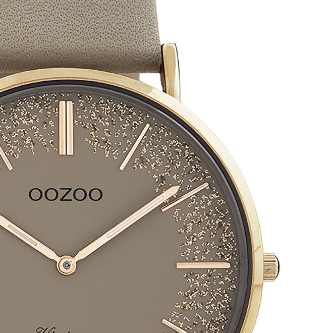 OOZOO Vintage - C20130 - Damen - Leder-Armband- Taupe/Roségold