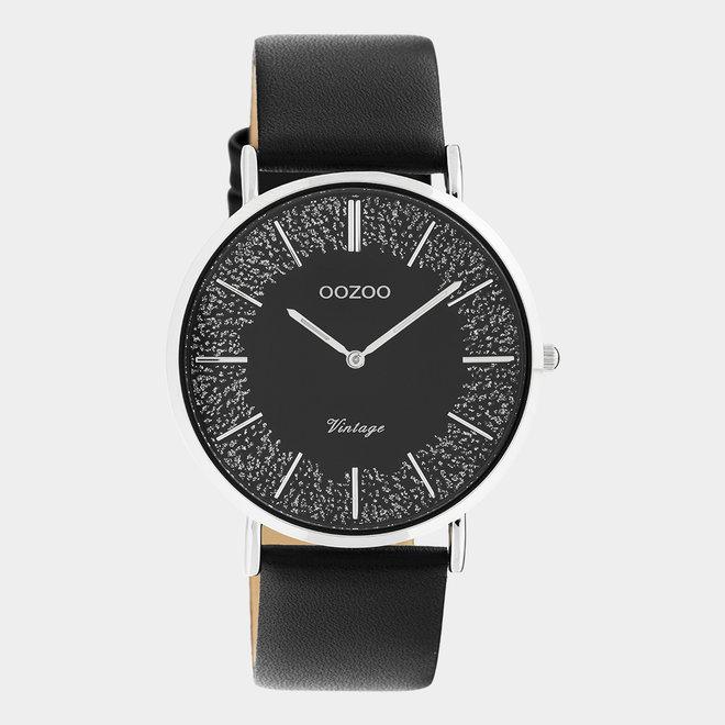OOZOO Vintage - C20131 - Damen - Leder-Armband- Schwarz/Silber