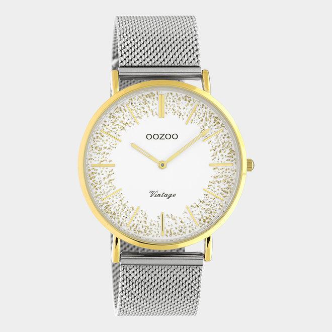 OOZOO Vintage - C20135 - Damen - Edelstahl-Mesh-Armband – Silber/Gold