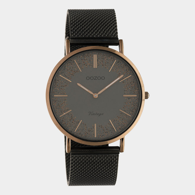 OOZOO Vintage - Damen - Edelstahl-Mesh-Armband – Titan/Braun