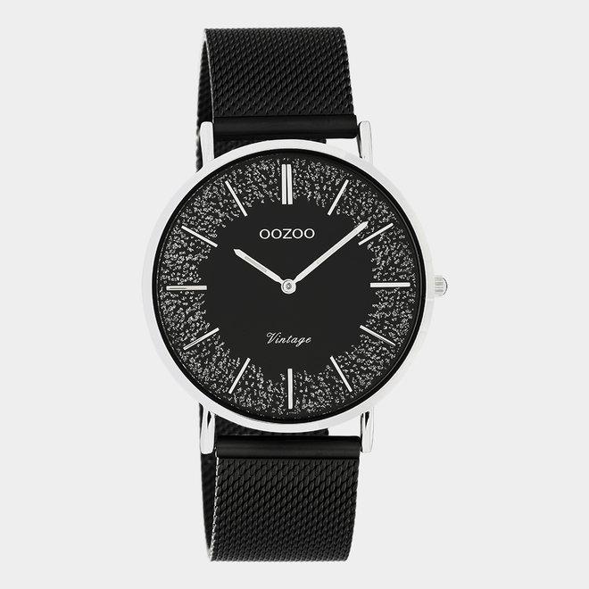 OOZOO Vintage - C20140 -  Damen - Edelstahl-Mesh-Armband – Schwarz/Silber