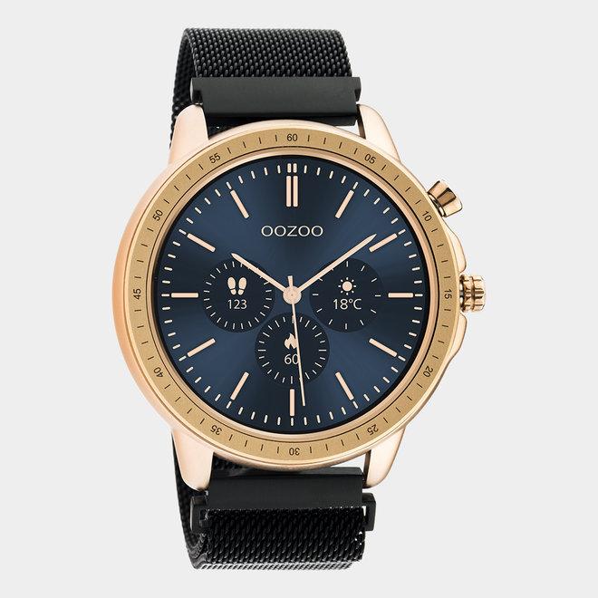 OOZOO Smartwatches - Unisex - Edelstahl-Mesh-Armband - Schwarz/Roségold