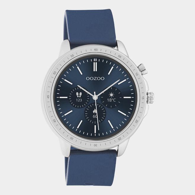 OOZOO Smartwatches - Unisex - Silikon-Armband - Blau/Silber