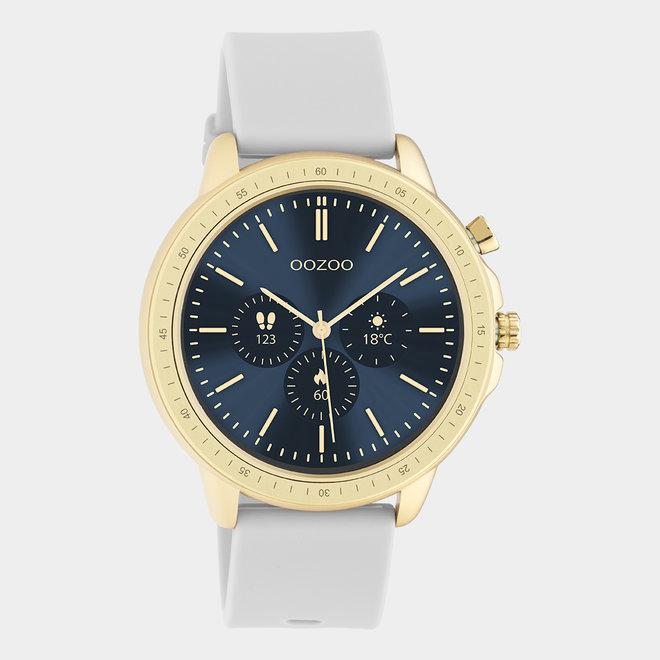 OOZOO Smartwatches - Unisex - Silikon-Armband - Steingrau/Gold