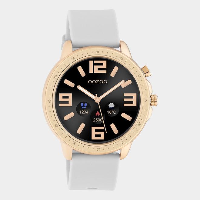 OOZOO Smartwatches - Unisex - Silikon-Armband - Steingrau/Roségold