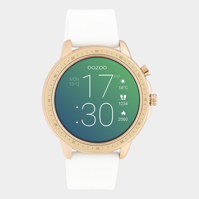 OOZOO Smartwatches - Unisex - Silikon-Armband - Weiß/Roségold