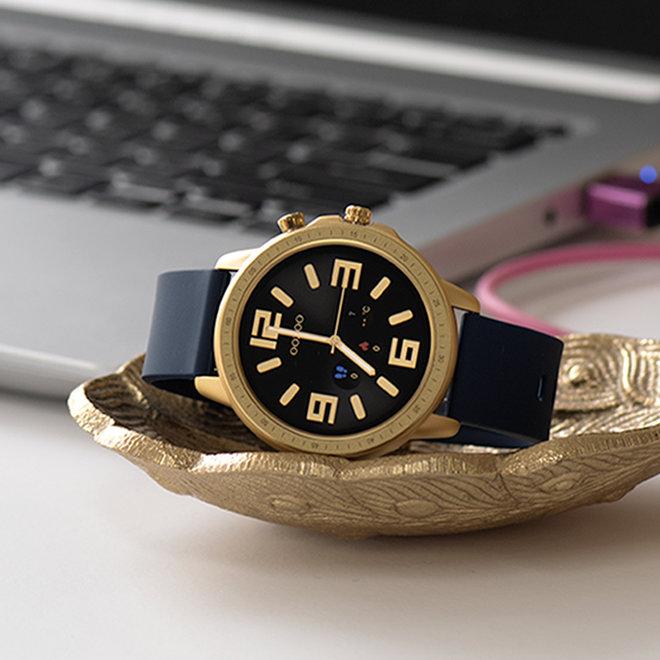 OOZOO Smartwatches - Unisex - Silikon-Armband - Blau/Gold