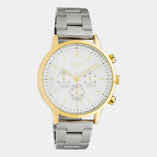 OOZOO Timepieces - C10561 - Unisex - Edelstahl-Glieder-Armband - Silber/Gold/Silber