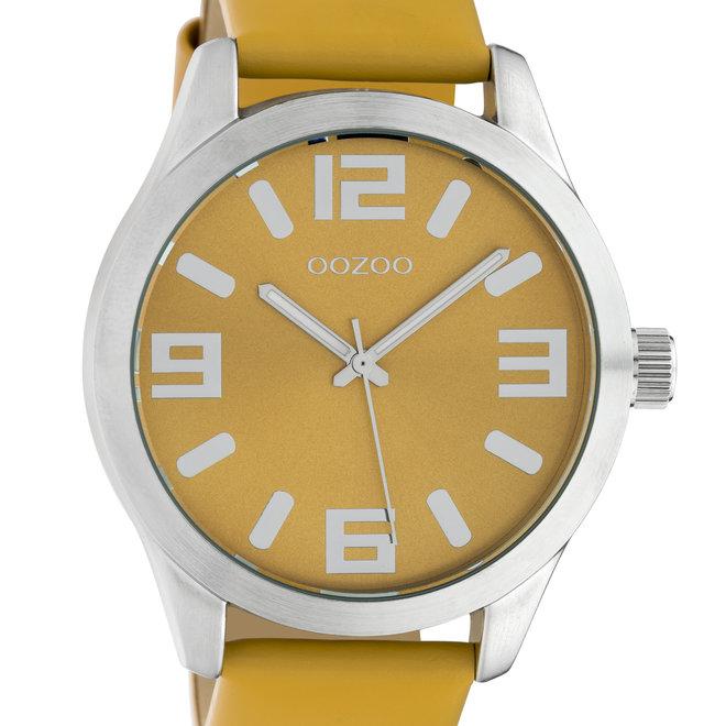 OOZOO Timepieces - C10235 -  Unisex - Leder-Armband - Gelb/Silber