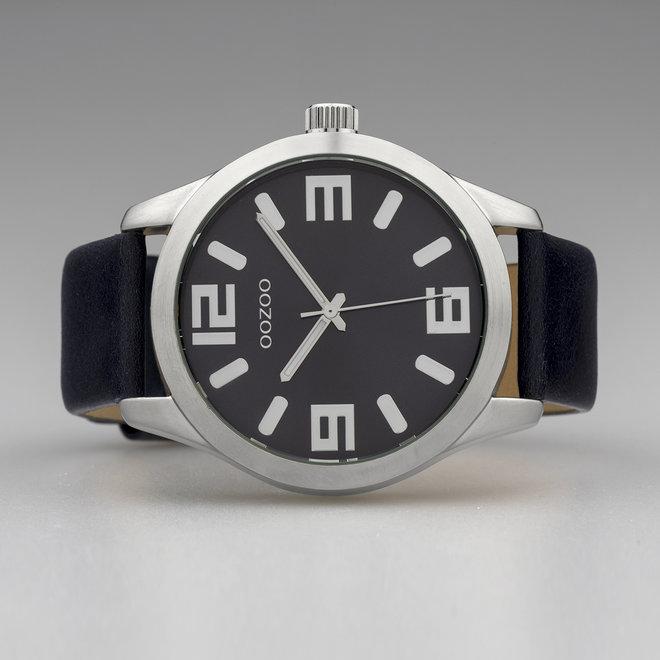 OOZOO Timepieces - C10236 -  Unisex - Leder-Armband - Dunkelblau/Silber