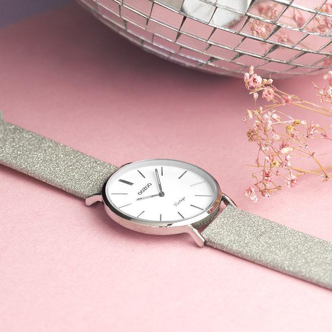 OOZOO Vintage - C20145 - Damen - Leder-Glitzer-Armband - Silber/Silber