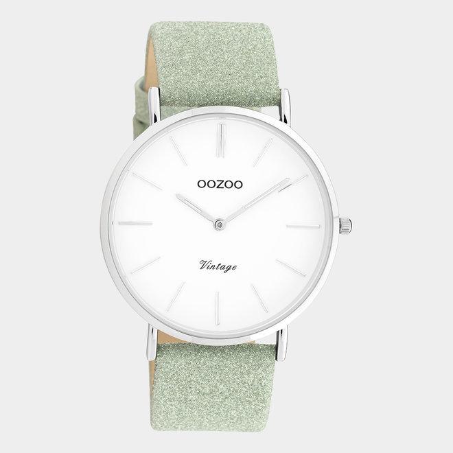 OOZOO Vintage - C20146 - Damen - Leder-Glitzer-Armband - Silber/Grün