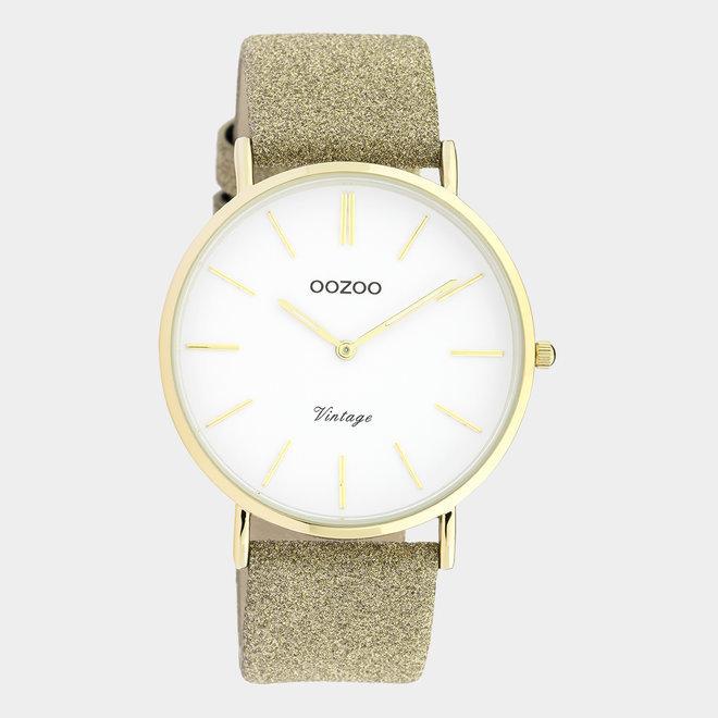 OOZOO Vintage - C20148 -  Damen - Leder-Glitzer-Armband- Gold /Gold