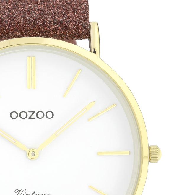 OOZOO Vintage -  C20149 - Damen - Leder-Glitzer-Armband - Braun-Rot /Gold