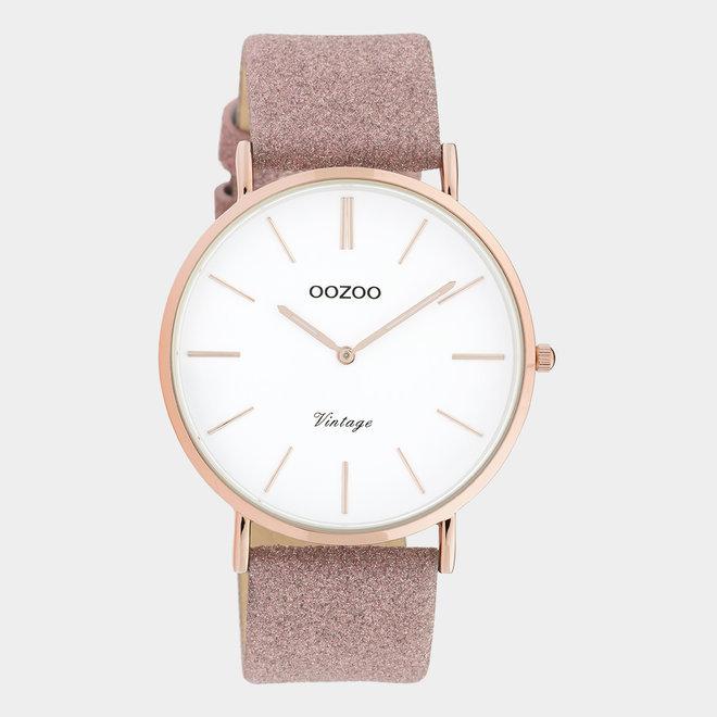 OOZOO Vintage - C20150 -  Damen - Leder-Glitzer-Armband  Rosa/ Roségold