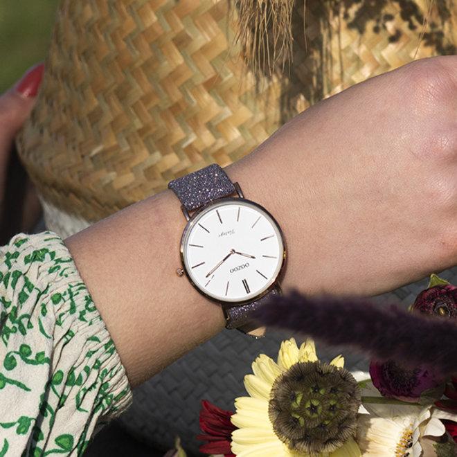 OOZOO Vintage - C20152 - Damen - Leder-Glitzer-Armband Violette / Rosé