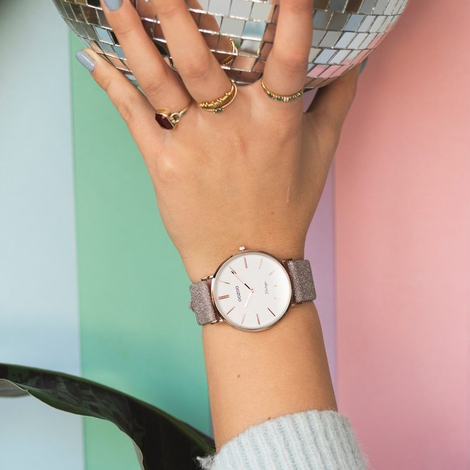 OOZOO Vintage - C20151 - Damen - Leder-Glitzer-Armband Taupe/ Rosé